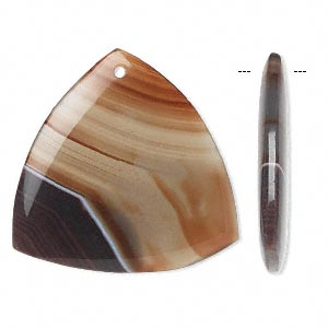 Focal, Red Agate (dyed), 43x42x42mm Rounded Triangle, B- Grade, Mohs Hardness 6-1/2 7. Sold Individually