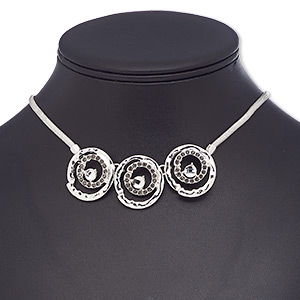 "Necklace, Glass Rhinestone / Glass / Silver-plated Brass / Steel / ""pewter"" (zinc-based Alloy), Black Clear, 26mm Round, 16 Inches 2-inch Extender Chain Lobster Claw Clasp. Sold Individually 8831JD"