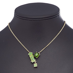 Necklace, Glass Rhinestone / Glass / Resin / Gold-finished Brass / Steel, Green / Light Green / Opalescent Light Green, Rectangle, 16 Inches 2-inch Extender Chain Lobster Claw Clasp. Sold Individually 8832JD