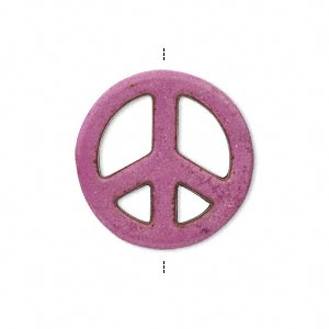 Bead, Magnesite (dyed / Stabilized), Fuchsia, 25mm Hand-cut Peace Sign, C+ Grade, Mohs Hardness 3-1/2 4. Sold Per Pkg 10