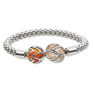 "Bracelet, Stretch, Glass Silver-finished Steel ""pewter"" (zinc-based Alloy), Peach Dark Orange, 16mm Round, 6-1/2 Inches. Sold Individually 8836JD"