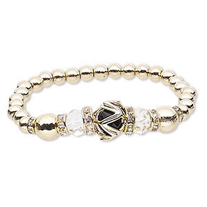 "Bracelet, Stretch, Glass Rhinestone / Glass / Gold-coated Plastic / Gold-finished ""pewter"" (zinc-based Alloy), Black Clear, 14mm Round, 6 Inches. Sold Individually 8838JD"