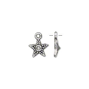 "Charm, Antiqued Silver-finished ""pewter"" (zinc-based Alloy), 11x11mm Single-sided Fancy Star. Sold Per Pkg 50"