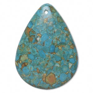 "Focal, Mosaic ""turquoise"" (dyed / Assembled), Blue, 47x35mm Top-drilled Teardrop, Mohs Hardness 3-1/2 4. Sold Individually"