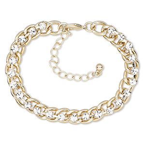 Bracelet, Glass Rhinestone Gold-finished Steel Brass, Clear, 8mm Wide Cupchain, 6-1/2 Inches 2-inch Extender Chain Lobster Claw Clasp. Sold Individually 8878JD