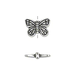 "Bead, Antique Silver-plated ""pewter"" (zinc-based Alloy), 15x10mm Double-sided Butterfly. Sold Per Pkg 20"