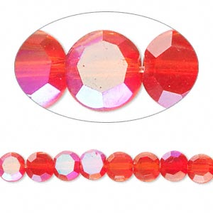 Bead, Celestial Crystal®, Glass, 26-facet, Red AB, 6mm Faceted Flat Round. Sold Per 16-inch Strand