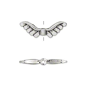 """Bead, Antique Silver-plated """"pewter"""" (zinc-based Alloy), 24x8mm Double-sided Angel Wings. Sold Per Pkg 20"""