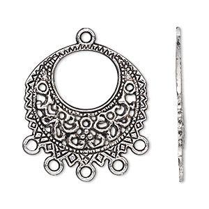 """Drop, Antiqued Silver-finished """"pewter"""" (zinc-based Alloy), 27mm Single-sided Filigree Round 5 Loops. Sold Per Pkg 500"""