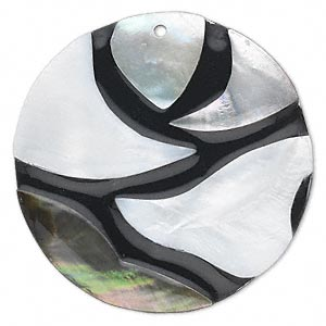 Focal, Black Lip Freshwater Pearl Shell Resin (assembled), White, 45mm Single-sided Flat Round. Sold Individually