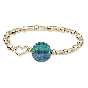 "Bracelet, Stretch, Resin / Gold-coated Plastic / Gold-finished ""pewter"" (zinc-based Alloy), Gold / Blue / Green, 17mm Wide, 6-1/2 Inches. Sold Individually 8958JD"