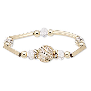 """Bracelet, Stretch, Glass / Glass Rhinestone / Gold-coated Plastic / Gold-finished Steel / """"pewter"""" (zinc-based Alloy), Clear, 15mm Wide Round, 6-1/2 Inches. Sold Individually 8959JD"""