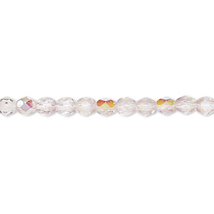 Bead, Czech Fire-polished Glass, Two-tone, Crystal/lavender AB, 4mm Faceted Round. Sold Per 16-inch Strand 152-19001-00-4mm-00030-20031-28701