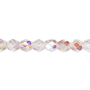 Bead, Czech Fire-polished Glass, Two-tone, Crystal/lavender AB, 6mm Faceted Round. Sold Per 16-inch Strand 152-19001-00-6mm-00030-20031-28701