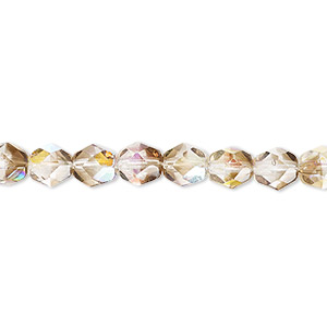 Bead, Czech Fire-polished Glass, Clear Smoke AB, 6mm Faceted Round. Sold Per 16-inch Strand 152-19001-00-6mm-00030-10241-28701