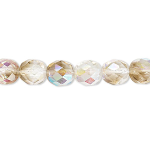 Bead, Czech Fire-polished Glass, Clear Smoke AB, 8mm Faceted Round. Sold Per 16-inch Strand 152-19001-00-8mm-00030-10241-28701