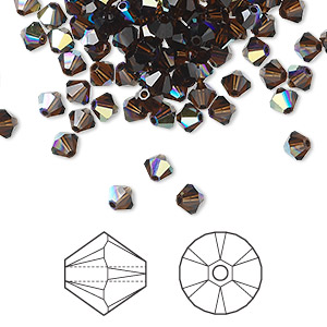 Bead, Swarovski® Crystals, Crystal Passions®, Mocca AB, 4mm Xilion Bicone (5328). Sold Per Pkg 48 5328