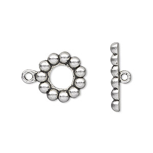 "Clasp, Toggle, Antique Silver-plated ""pewter"" (zinc-based Alloy), 14mm Single-sided Beaded Round. Sold Per Pkg 20"