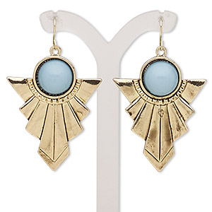 "Earring, Acrylic Antiqued Gold-finished Brass ""pewter"" (zinc-based Alloy), Light Turquoise Blue, 55mm Fancy Arrow Fishhook Earwire. Sold Per Pair 9030JD"