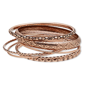 Bracelet, Bangle, Antique Copper-finished Steel, 2-10mm Wide, 8 8-1/2 Inches. Sold Per 7-piece Set 9033JD