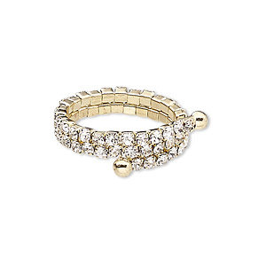 Ring, Glass Rhinestone Gold-finished Brass Steel Memory Wire, Clear, 4.5mm Wide Cupchain, Adjustable Size 7-15. Sold Individually 9034JD