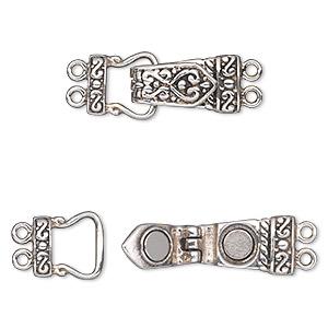 """Details about  /Vtg Filigree Silver Link Flower Hook Clasp Bracelet 6.5/"""" B23"""