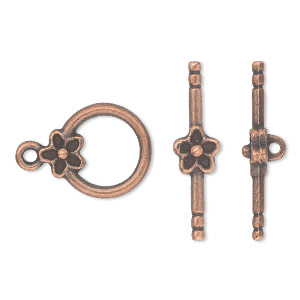 "Clasp, Toggle, Antique Copper-plated ""pewter"" (zinc-based Alloy), 14mm Single-sided Round Flower. Sold Per Pkg 10"