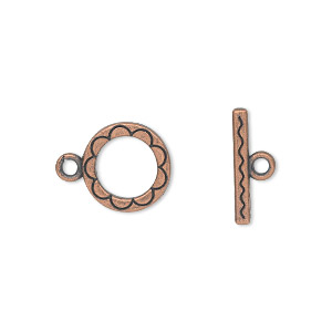 "Clasp, Toggle, Antique Copper-plated ""pewter"" (zinc-based Alloy), 12mm Double-sided Round Flower Design. Sold Per Pkg 20"