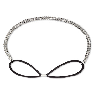 Headband, Stretch, Glass Rhinestone / Nylon / Silver-plated Brass, Black Clear, 8mm Wide Cupchain, 22-28 Inches. Sold Individually 9041JD