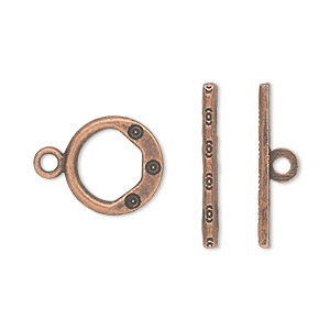 "Clasp, Toggle, Antique Copper-plated ""pewter"" (zinc-based Alloy), 13mm Single-sided Round. Sold Per Pkg 20"