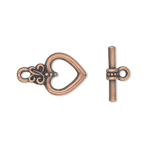 "Clasp, Toggle, Antique Copper-plated ""pewter"" (zinc-based Alloy), 17x12mm Double-sided Heart. Sold Per Pkg 20"