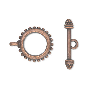 "Clasp, Toggle, Antique Copper-plated ""pewter"" (zinc-based Alloy), 18mm Double-sided Beaded Round. Sold Per Pkg 10"
