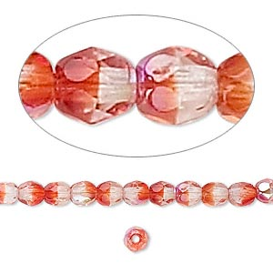 Bead, Czech Fire-polished Glass, Two-tone Clear Red AB, 4mm Faceted Round. Sold Per 16-inch Strand 152-19001-00-4mm-00030-90081-28701