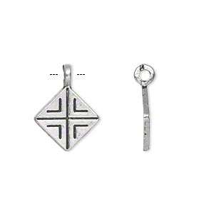 """Drop, Antiqued Silver-finished """"pewter"""" (zinc-based Alloy), 13x13mm Single-sided Diamond. Sold Per Pkg 20"""