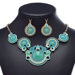 """Necklace Earring, Acrylic Rhinestone / Acrylic / Glass Rhinestone / Enamel / Gold-finished Brass / Steel / """"pewter"""" (zinc-based Alloy), Clear AB / Turquoise Blue / Mint Green, Round, 18-inch Necklace 3-inch Extender Chain Lobster Claw Clasp, 37mm Earring"""