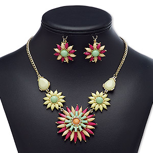"""Necklace Earring, Acrylic Rhinestone / Acrylic / Glass Rhinestone / Gold-finished Brass / Steel / """"pewter"""" (zinc-based Alloy), Multicolored, 50x50mm Flower, 18-inch Necklace 3-inch Extender Chain Lobster Claw Clasp, 29mm Earrings Flower Leverback Earwire"""