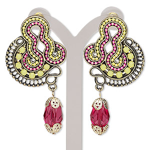 """Earring, Acrylic / Acrylic Rhinestone / Enamel / Stainless Steel / Antique Gold-finished Brass / Steel / """"pewter"""" (zinc-based Alloy), Multicolored, 2-1/3 Inches Post. Sold Per Pair 9075JD"""