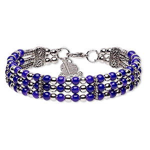 "Bracelet, 3-strand, Glass / Silver- / Antique Silver-plated Steel / ""pewter"" (zinc-based Alloy), Purple, 13mm Wide 24x8mm Feather Dangle, 7-1/2 Inches 2-inch Extender Chain Lobster Claw Clasp. Sold Individually 9088JD"