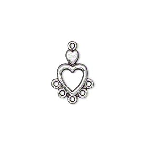 """Drop, Antiqued Silver-finished """"pewter"""" (zinc-based Alloy), 14x9mm Single-sided Double Heart 5 Loops. Sold Per Pkg 50"""