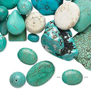 Bead Mix, Magnesite (dyed / Stabilized), Blue / Green / White, 8mm-51x51mm Multi-shape, D Grade, Mohs Hardness 3-1/2 4. Sold Per 1 Pound Pkg, Approximately 70 Beads