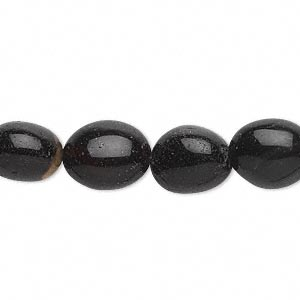 Bead, Black Agate (dyed), Small Medium Tumbled Nugget, Mohs Hardness 6-1/2 7. Sold Per 16-inch Strand 9097GS