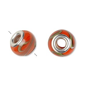 Bead, Dione®, Lampworked Glass Silver-plated Brass Grommets, Opaque Orange Green, 14x9mm Rondelle Swirls 4.5-5mm Hole. Sold Per Pkg 6 9098GL