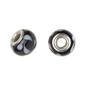 Bead, Dione®, Lampworked Glass Silver-plated Brass Grommets, Opaque Black White, 14x9mm Rondelle Swirls 4.5-5mm Hole. Sold Per Pkg 6 9102GL
