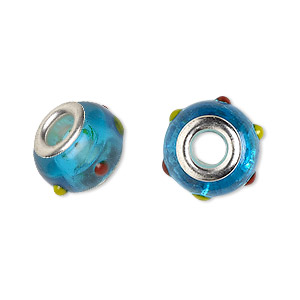 Bead, Dione®, Lampworked Glass Silver-plated Brass Grommets, Semitransparent Aqua Blue/red/yellow, 14x9mm Rondelle Bumpy Dots 4.5-5mm Hole. Sold Per Pkg 6 9113GL