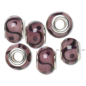 Bead, Dione®, Lampworked Glass Silver-plated Brass Grommets, Opaque Pink Brown, 14x9mm Rondelle Waves/dots 4.5-5mm Hole. Sold Per Pkg 6 9116GL