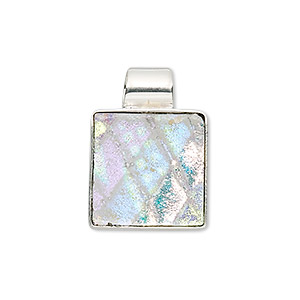 Pendant, Sterling Silver Dichroic Glass, Clear Multicolored, 24x16mm Square. Sold Individually 9125JW