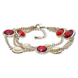 Other Bracelet Styles Gold Plated/Finished Reds