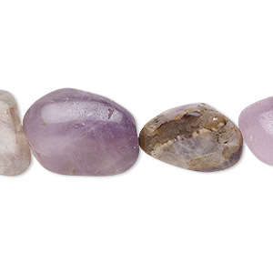 Bead, Banded Amethyst (natural), Light Dark, Small Medium Hand-cut Tumbled Nugget, Mohs Hardness 7. Sold Per 16-inch Strand 9135GS