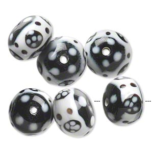 Bead, Lampworked Glass, Opaque White Black, 15x11mm-17x12mm Rondelle Flower Dot Design. Sold Per Pkg 6