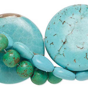 Bead Mix, Magnesite (dyed / Stabilized), Mixed Colors, 8mm-40x30mm Mixed Shape, C- Grade, Mohs Hardness 3-1/2 4. Sold Per Pkg (3) 15-inch Strands